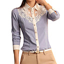 Womens Casual Lace Micro Elastic Long Sleeve Regular Blouse