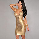 Womens Sexy Strap Deep V Sleeveless Bodycon Party Dress