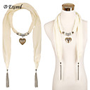 D Exceed Multicolor Solid Heart Pendant Charm Chiffon Scarf Necklaces For Women Fashion Tassel Jewelry Scarves