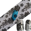 100cmx4cm 1pcs Nail Foils Transfer Hot Designs Black Lace Flower NEW Styles DIY Sticker Decals Nail Decorations Tools