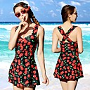 Womens Bandeau One-pieces / Cover-Ups,Floral Padded Bras Cotton / Spandex Red