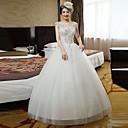 Da ballo Abito da sposa Lungo A V Di pizzo / Raso / Tulle con Perline / Di pizzo