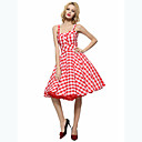 Maggie Tang Womens 50s VTG Retro Check Rockabilly Hepburn Pinup Business Swing Dress 537