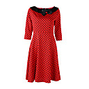 Womens Vintage 1950s Prom Retro Rockabilly Hepburn Pinup Cos Party Swing Butterfly Polka Dot Collared Dress