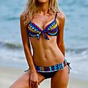 Womens Vintage Bohemia Style Triangle Design Pattern  Halter Beach Swimwear Bikini Set