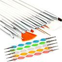15PCS Nail Art Design Painting Drawing Pen Brush Set with 5PCS 2-way Dotting Marbleizing Pen Tool