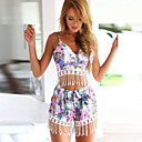 Womens Sexy Print Cute Plus Sizes Micro Elastic Sleeveless Short Suit (Cotton)