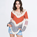 Womens Patchwork Hollow Out Print Loose Round Neck Long Sleeve Blouse