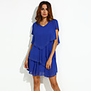 Womens Plus Size Solid Cultivating Chiffon Dress,V Neck Short Sleeve