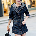 Womens Spring Vogue Hood Long Sleeve Waisted Demin Coat Plus Size