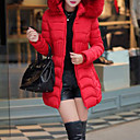 Womens Solid Red / Black / Green / Gray Down Coat , Casual Hooded Long Sleeve