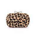 Image of Per donna Sacchetti Altro tipo di pelle / Camoscio Borsa da sera Pelliccia Leopardato Leopardo / Verde Chiaro / Grigio chiaro