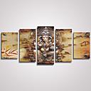 Image of Set Tela / Unframed Stampa trasferimenti su tela Astratto / Animali Modern / Realismo,Cinque Pannelli Tela Orizzontale Stampa artistica