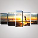 Image of Set Tela / Unframed Stampa trasferimenti su tela Paesaggi / Natura morta / Tempo libero Modern / Realismo,Cinque Pannelli Tela Orizzontale