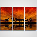 Image of Set Tela / Unframed Stampa trasferimenti su tela Paesaggi / Natura morta / Tempo libero Modern / Realismo,Tre Pannelli Tela Orizzontale