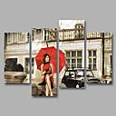 Image of Set Tela / Unframed Stampa trasferimenti su tela Ritratti Classico,Quattro Pannelli Tela Orizzontale Stampa artistica Wall Decor For