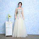 Image of Serata formale Vestito Linea-A Con decorazione gioiello Lungo Di pizzo Tulle con Di pizzo