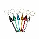 Image of Fumatore del tubo di alluminio della catena chiave 2pcs - colori casuali cucchiai delle decorazioni domestiche