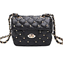 Women Bags All Seasons PU Shoulder Bag Buttons for Casual Black
