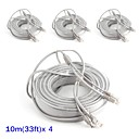 4PCS CCTV Accessories 10m 33ft CCTV RJ45 Video Network Cable  DC Power for Security System Camera Extension Cable