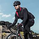 Image of SANTIC Per uomo Giacca da ciclismo Bicicletta Giacca di pelle Antivento Tenere al caldo Traspirante Gli sport Tinta unita Elastene Inverno Nero Abbigliamento Abbigliamento ciclismo