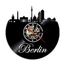 Image of 1piece germany skyline home decor berlino vinile record silhouette orologio da parete paesaggio urbano retroilluminazione euro souvenir di viaggio