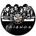 Image of 3d amici amici serie tv cd record orologio nero hollow vinile record orologio da parete stile antico appeso orologio a led decorazione della casa