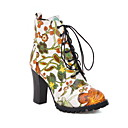 Women's Boots Block Heel Boots Chunky Heel Round Toe Booties Ankle Boots Vintage Daily PU Floral White Black / Booties / Ankle Boots / Booties / Ankle Boots