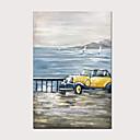 Image of 100% dipinti a mano classici gialli auto d'epoca dipinti ad olio verticali astratti moderni per la decorazione domestica con interno in legno pronto da appendere
