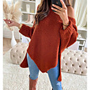 Women's Basic Asymmetric Hem Solid Color Plain Pullover Wool Long Sleeve Loose Sweater Cardigans Off Shoulder Fall Winter Wine