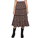 Women's ditsy floral print ruffle hem high waist a line long skirt multicolor l