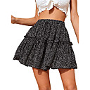 Women's polka dot high waist layer ruffle hem a-line swing mini skirt black l