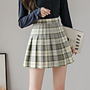 Women's Causal Daily Active Streetwear Skirts Plaid Pleated Print Blushing Pink Green