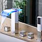 Moderne LED Wasserfall Hänge-Glasauslauf Badezimmer Wasserhahn mit Handbrause 6160