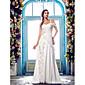 a-Linie einer Schulter Sweep / Pinsel Zug Chiffon Hochzeitskleid (631150) 6160