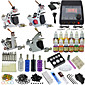 4 Tattoo Machine Guns Tattoo Kit with Power Needles Set 1210ML Ink 3204