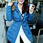 2 Farben-Frauen MD-Long Slim Down Jacket mit großem Pelzkragen 6160