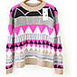 Women's Fashion Loose Geometric Pattern Long Sleeve Knitwear Sweater 3204