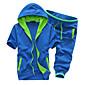 Seven Colours Men's Fashion Casual Short Sleeve Hoodie Activewear Sets (Cotton Blends) 3204
