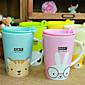 Cute Cartoon Animal Ceramic Mugs Cups with Lid Cover Nice Gift (Random Pattern) 3204
