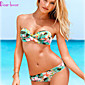 Women's Bandeau Bikinis , Floral/Bandage Push-up/Padded Bras/Underwire Bra Polyester/Spandex Green 3204