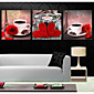 Prints Poster Coffee Cup Rose Flower Art Picture  Home Decorative  Pictures Print On Canvas  3pcs/set (Without Frame) 3204