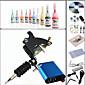 Tattoo Machine Complete Kit Set 1 s Machines 10PCS tattoo ink Tattoo kits 3204