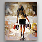 Oil Painting Impression Woman Hand Painted Canvas with Stretched Framed 3204
