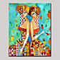 Hand-Painted Beauty Twin Girls Abstract Portrait Modern Oil Painting On Canvas With Frame Ready to Hang 3204