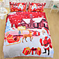 Bedding Christmas Night Home Textiles Hot Red Santa Claus Printed Bed Sheet Family Linen 3Pcs Twin Full Queen 3204