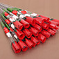 (24 Pieces/Lot) Valentines Day Silk Red Roses With Cartoon Bear Simulation Artificial Flower 3204