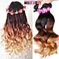 "3 Pcs /Lot 16""-24""7A 3T Brazilian Virgin Loose Wave Hair Extensions 100% Unprocessed Virgin Human Ombre Hair Weaves 3204"