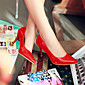 Women's Shoes Leatherette Stiletto Heel Heels Heels Outdoor / Office  Career / Casual Black / Pink / Red / White 3204