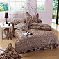 Fashion Leopard Grain,High-end Full Cotton Reactive Printing Stripe Contemporary Bedding Set 4PC, FULL/Queen Size 3204